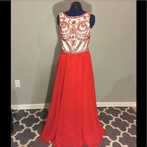 Red Rhinestoned Dress